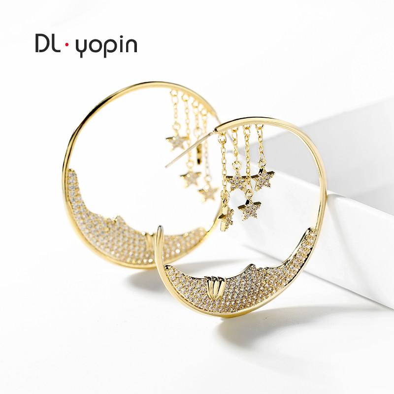 925银针星月耳坠几何性感夸张耳钉简约网红耳环女气质 韩国耳饰品