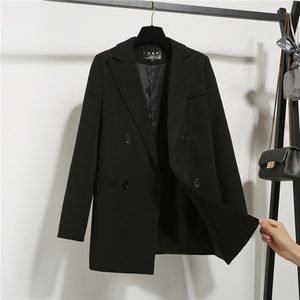 2019 new chic small suit women's jacket British style Korean loose casual professional fashion black suit