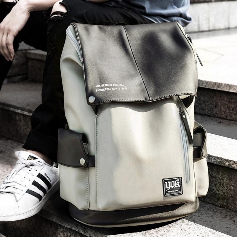 yok双肩包男士背包休闲韩版时尚潮流旅行包电脑大容量学生书包皮