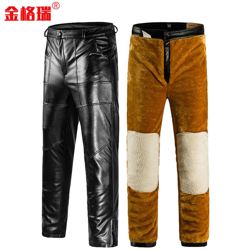 加厚双层皮裤男加绒男士中年大码宽松中老年冬季直筒摩托机车PU皮