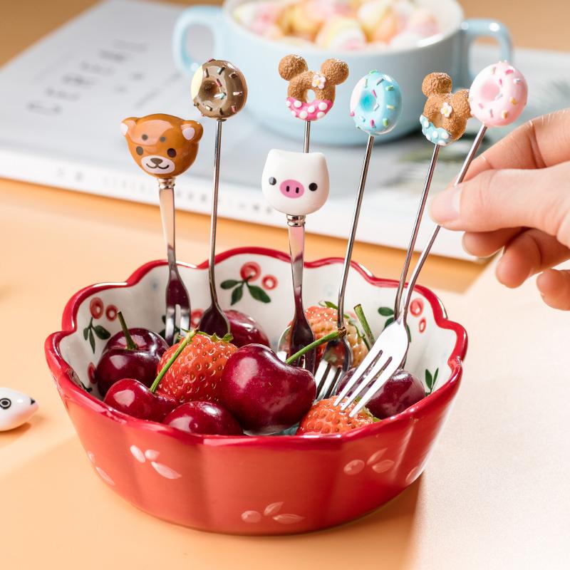 水果叉套装创意可爱儿童水果叉子不锈钢卡通北欧小叉子安全家用插