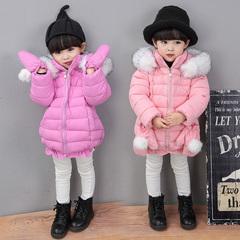 女童,中小,新款,蝴蝶结,手套,美人鱼,毛领,加厚,保暖,棉衣,棉服,粉色,90cm