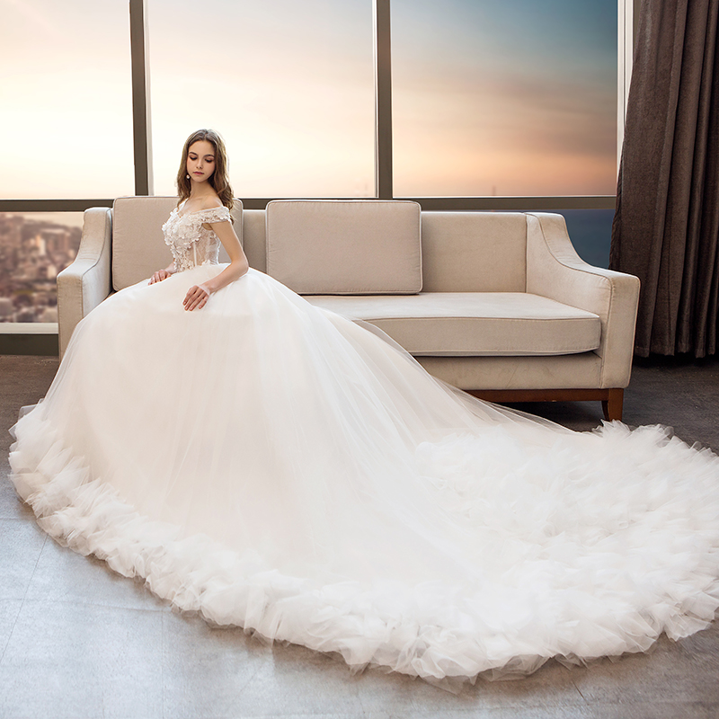 Wedding dress 2017 new style bridal lace winter long sleeved ...