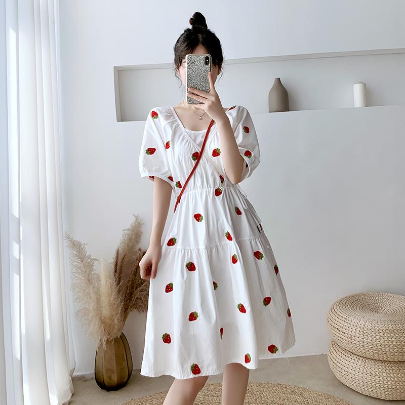 实拍#2020法式复古仙女森系甜美连衣裙小清新夏法国小众桔梗裙-麦子熟了-