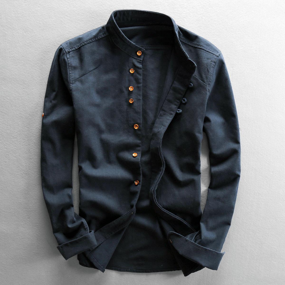 秋季立领亚麻衬衫男长袖纯色复古休闲修身棉麻中国风麻布料衬衣男