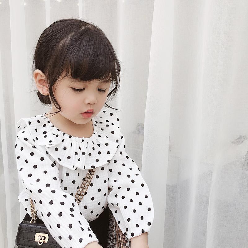 婴儿娃娃衫春秋童装女童上衣洋气衬衫宝宝波点打底衫小童长袖T恤