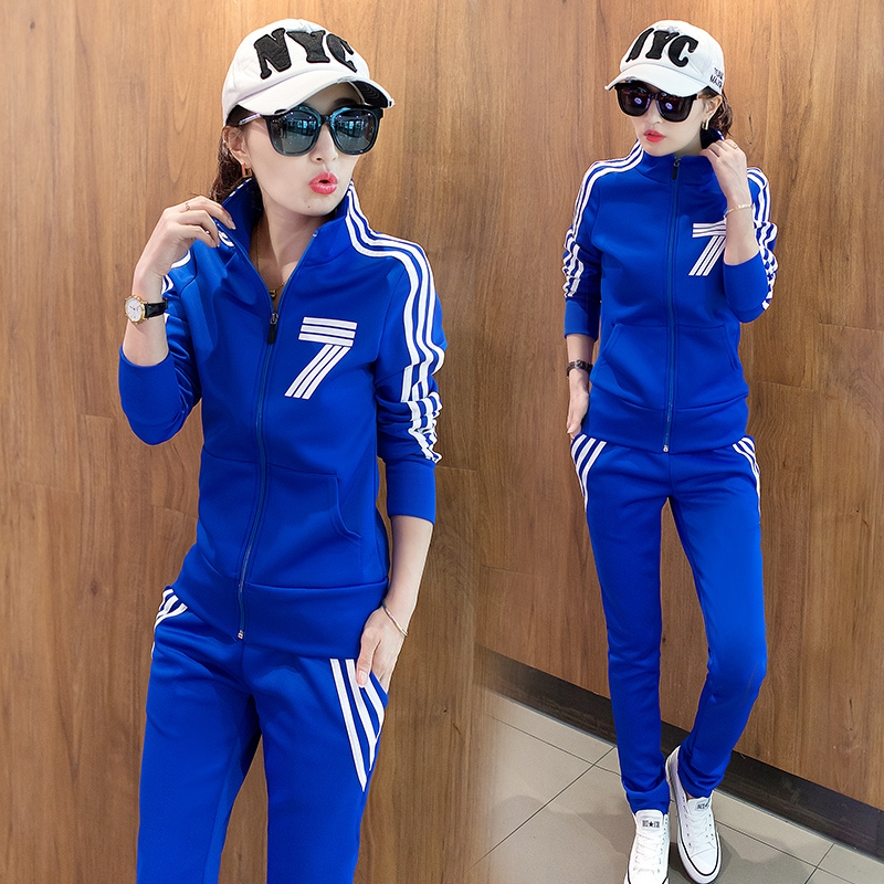 2018 spring and autumn new korean style student big code casual sportswear set lady slimming skinny clothes two-piece set