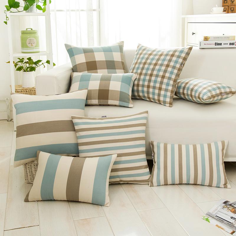 北欧风格简约现代格子沙发抱枕套长方形靠垫地中海靠枕布艺不含芯