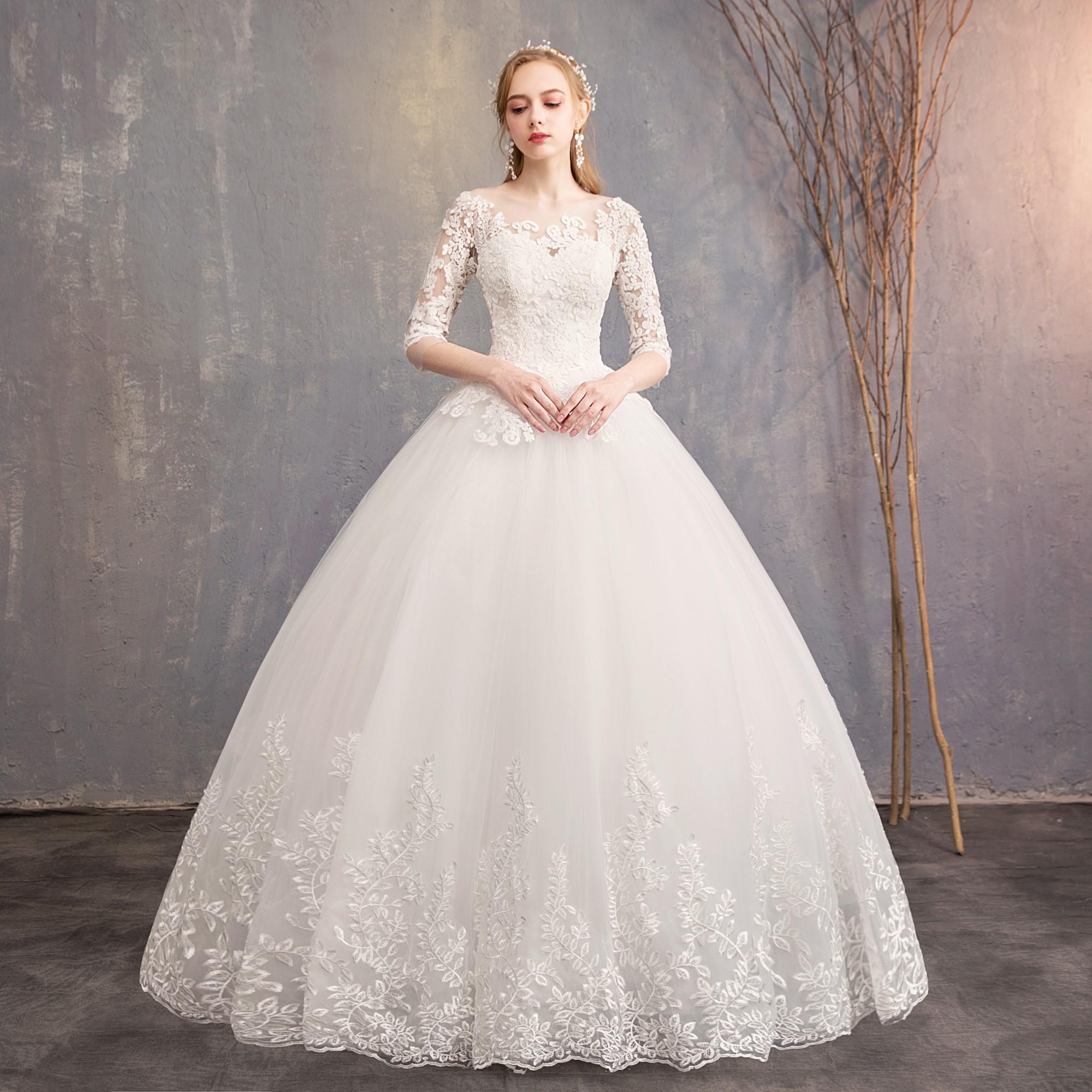婚纱礼服2019赫本新款一字肩拖尾显瘦森系新娘简约齐地结婚纱女轻