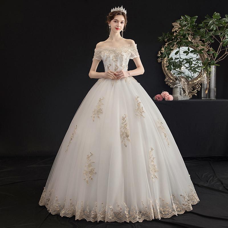 主婚纱2019新款新娘女一字肩简约森系梦幻法式超仙显瘦齐地轻纱裙