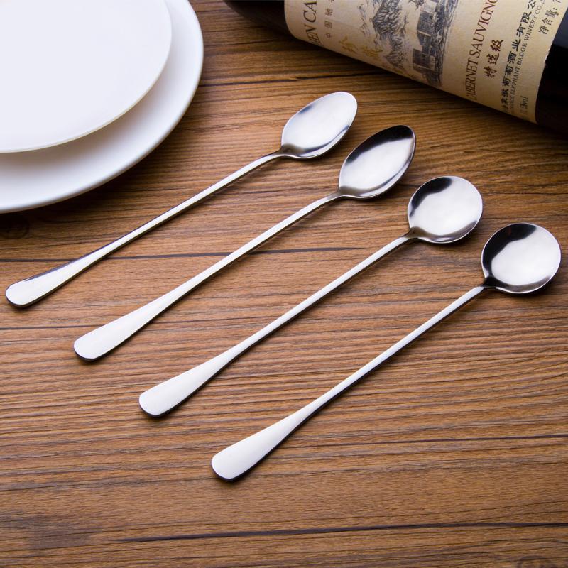 韩式不锈钢长柄勺子家用创意加厚汤勺儿童咖啡勺调羹勺长柄小勺子