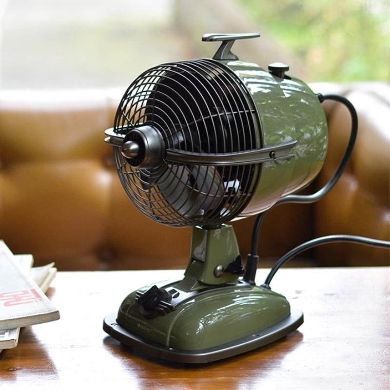 香港IMASU复古飞机头风扇香薰版仿古台式电扇摇头台扇青鸟蓝 包邮