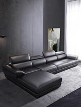 意大利真皮沙发头层牛皮简约现代小户型客厅皮质皮艺黑色四三人位