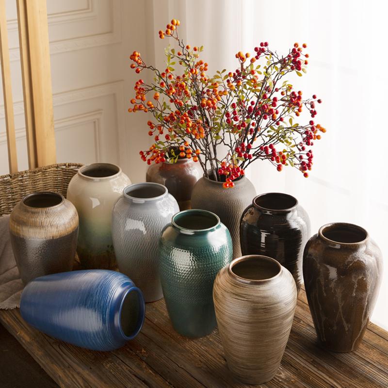 中美式复古陶瓷花瓶摆件插干花客厅电视柜玄关现代简约陶罐水培器