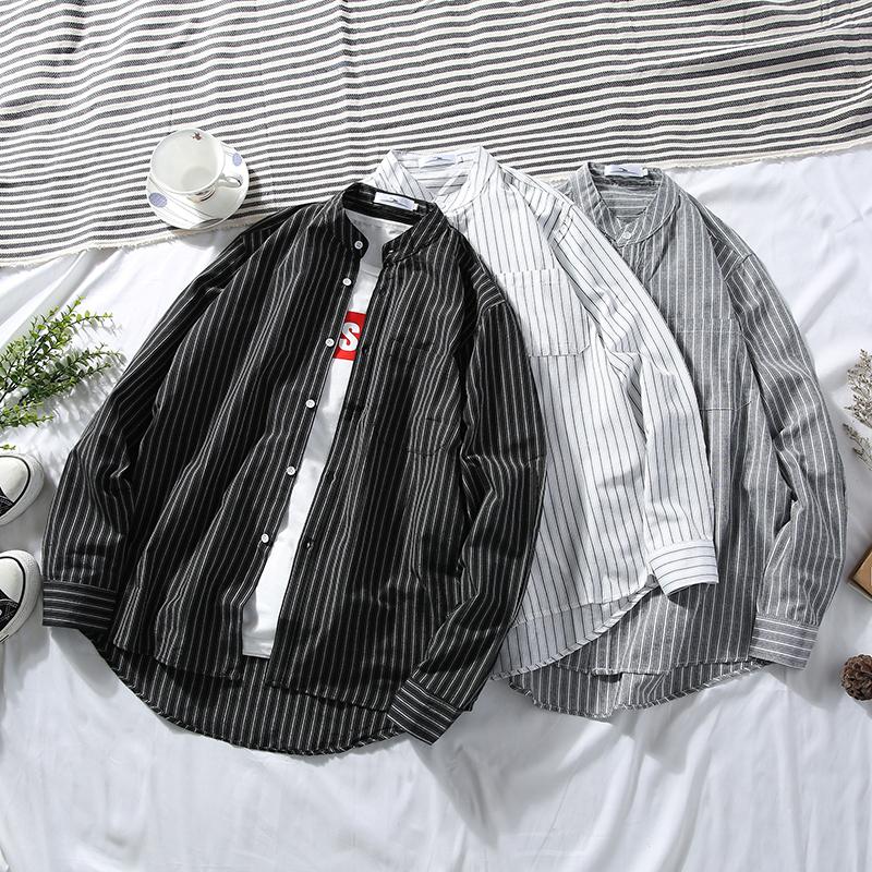 春夏港风ins长袖条纹衬衫男士韩版宽松潮流休闲学生帅气chic衬衣