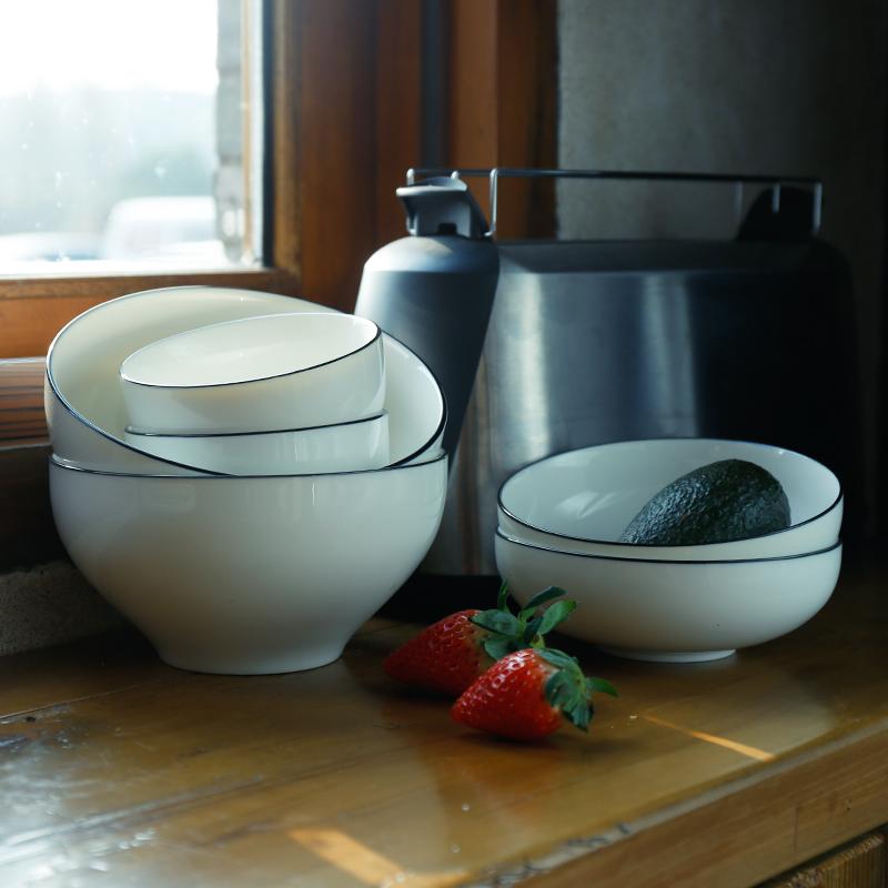 日韩陶瓷黑线条边简约盘子米饭碗勺子味碟日式餐具