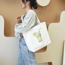 帆布包大容量通勤女带拉链购物买菜2go1421年um艺单肩手提包