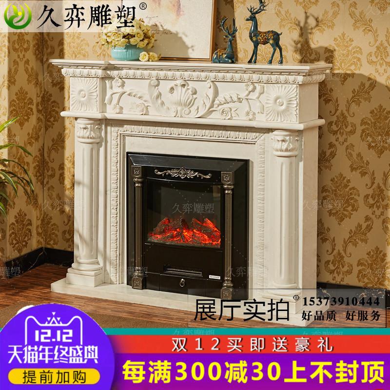 大理石壁炉架 欧式白色天然石材 大理石壁炉 石雕装饰柜