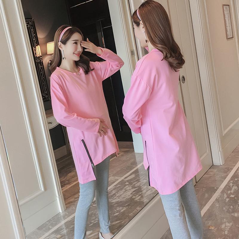 2018孕妇装春秋款两件套装长袖T恤+托腹裤怀孕期早春休闲孕妇套装