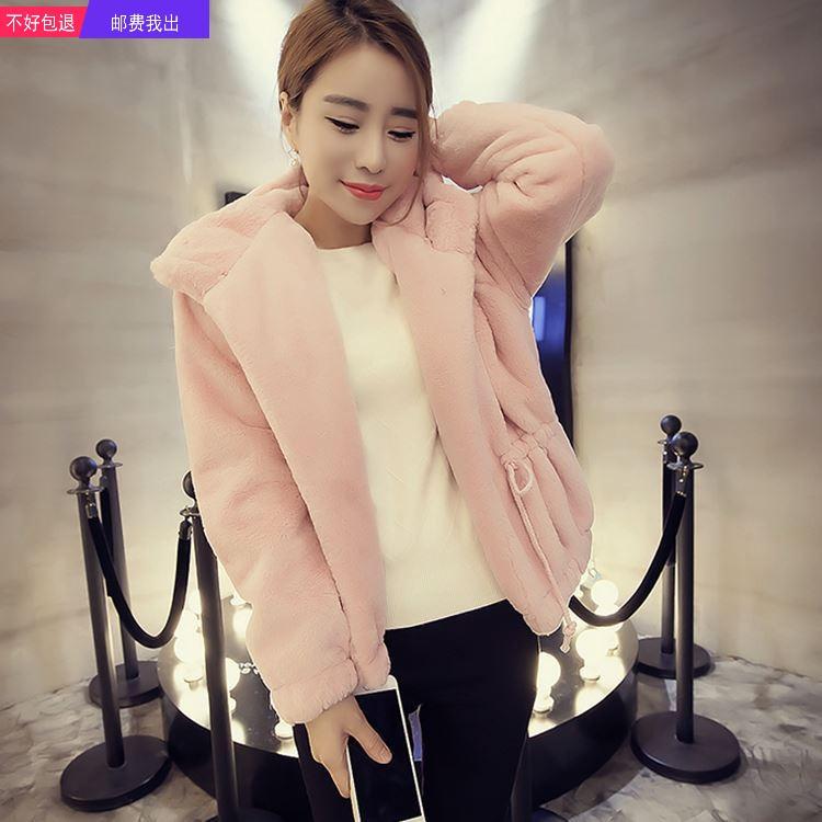 女装秋冬新款女装韩版长袖连帽毛绒绒短外套气质显瘦抽绳FW97NbdX