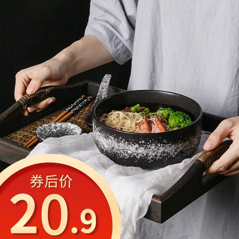 日式陶瓷泡面碗带盖单个便当碗学生宿舍易清洗大饭碗家用碗筷套装