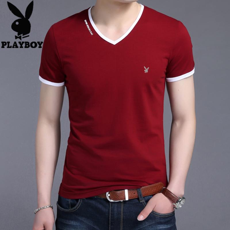 2017夏季短袖T恤男V领纯棉修身男装POLO衫衣服青年半袖体恤衫