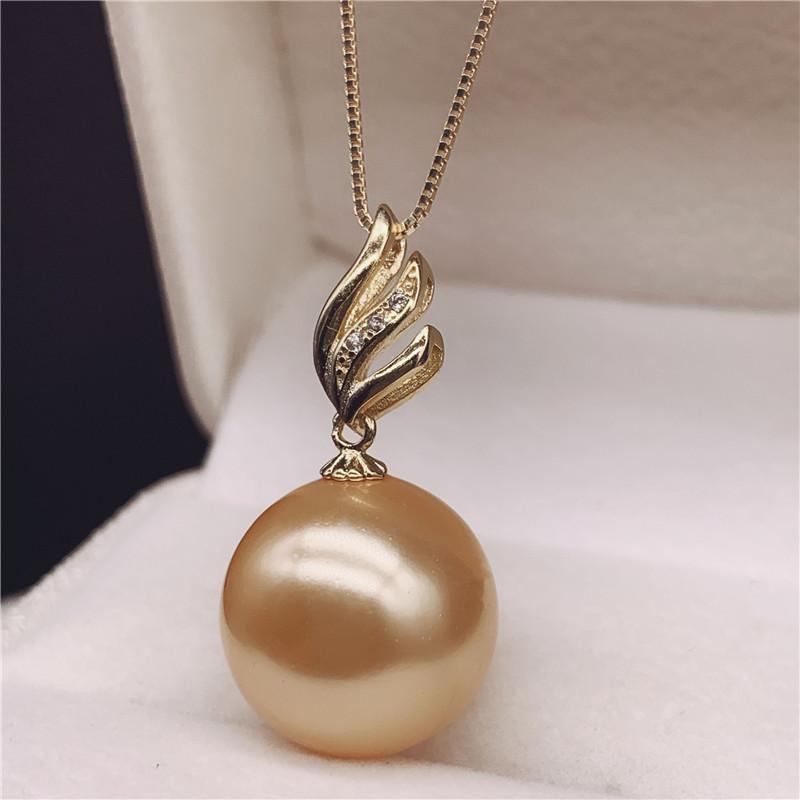 【天天特价】10-11-12mm正圆天然南洋金珠珍珠吊坠项链 925纯银