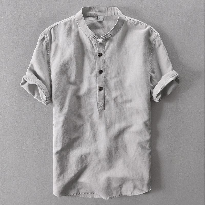 中国风亚麻料短袖T恤男盘扣立领棉麻复古薄款宽松半袖衬衫唐装夏