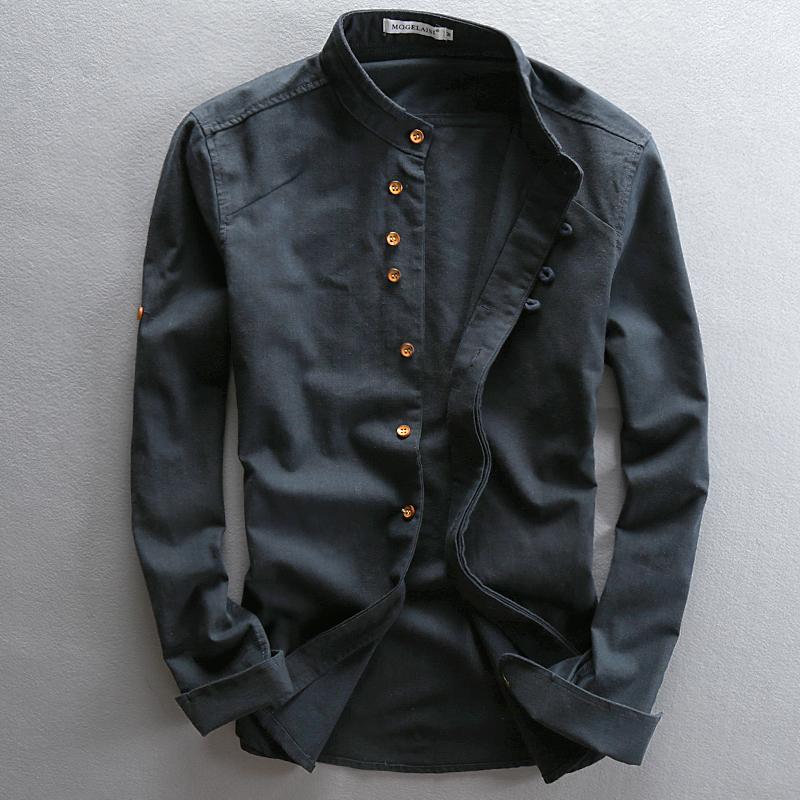 中国风亚麻衬衫男士棉麻圆领长袖修身立领透气秋季复古麻布料衬衣