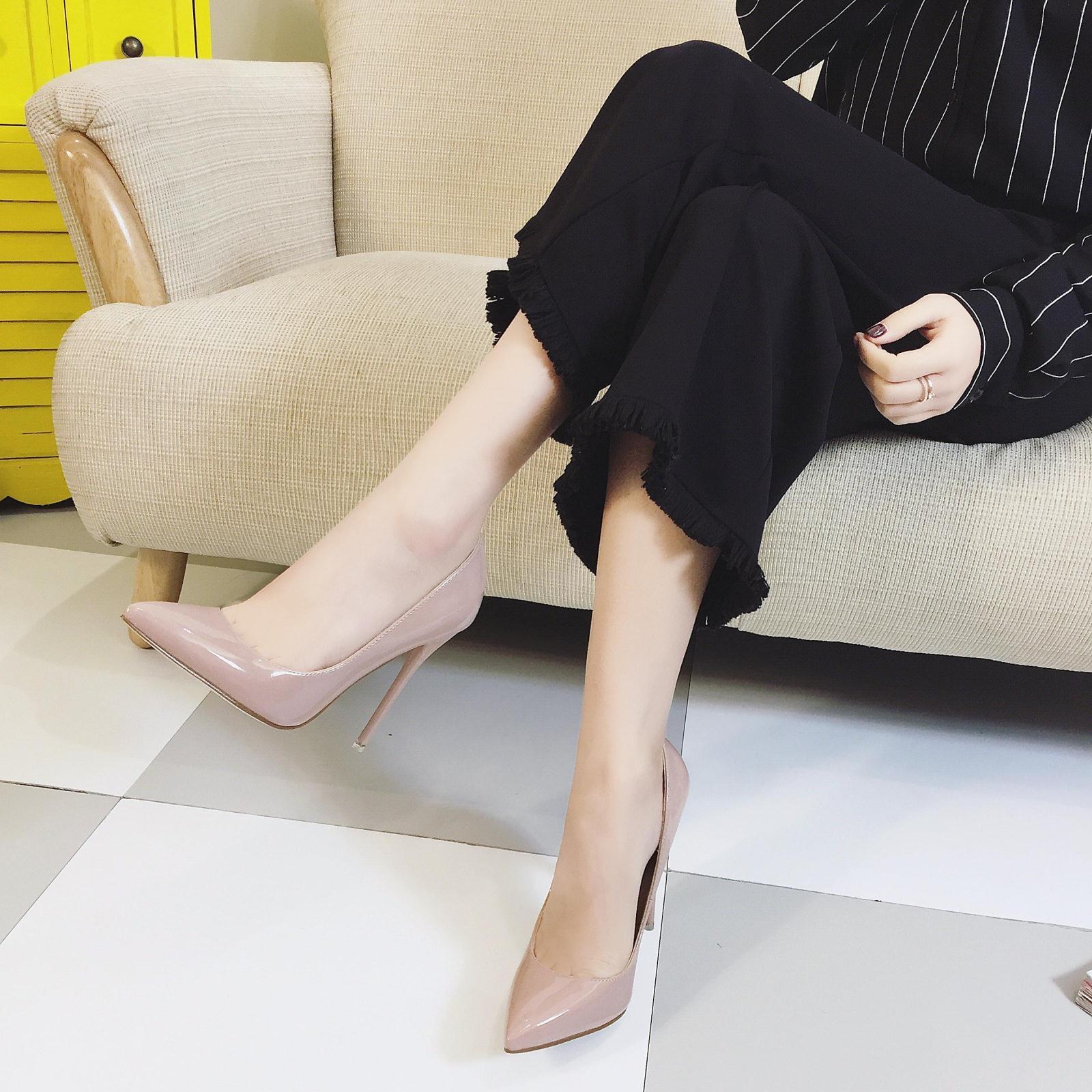 2019新款10cm裸色尖头高跟鞋女细跟中跟浅口百搭单鞋女秋款性感