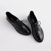 布洛克(小)皮鞋女英伦风ai7色系带真st闲平底粗跟单鞋牛津鞋女