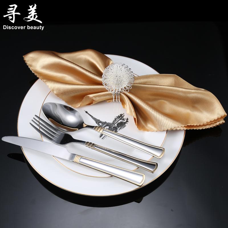 寻美包邮欧式奢华金色陶瓷西餐餐具西餐盘子牛排盘刀叉勺餐巾套装