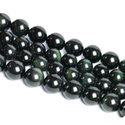 Myatou Crystal loose beads semi-finished natural Obsidian stone beads of Obsidian green-eyed prosperous wealth luck
