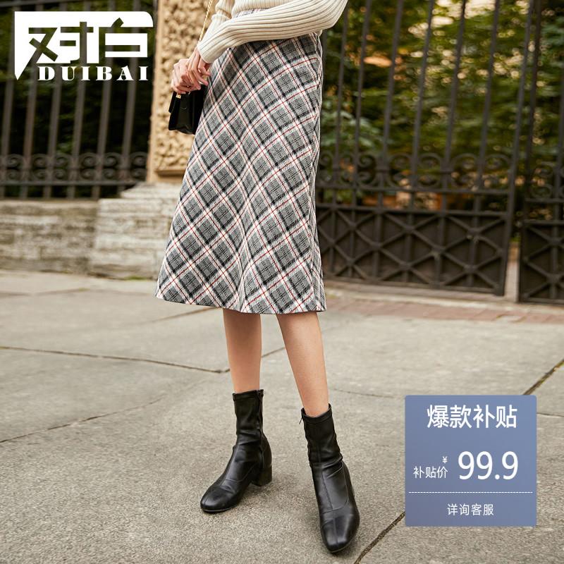 对白复古格子半身裙女高腰A字长裙2019秋冬新款毛呢中长款裙子B50