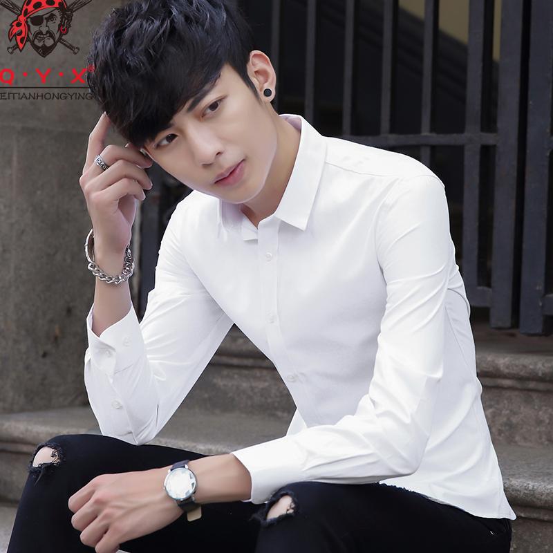 春季新款男士长袖衬衫韩版薄款寸修身青年商务休闲男装印花衬衣潮