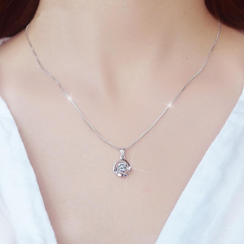 PT950铂金项链 女友礼物18K白金项链 百搭珠宝首饰 钻石吊坠女款