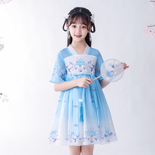 女童20夏季新lt4古装汉服mi仙襦裙(小)女孩中国风夏装连衣裙子