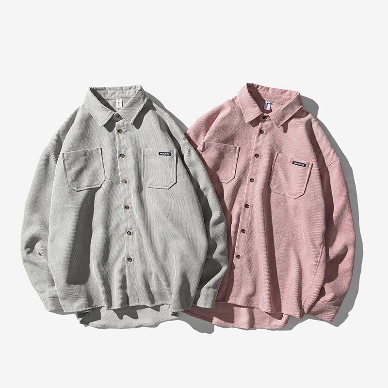 日系平铺图 秋季宽松灯芯绒翻领工装衬衫外套 C302-CS02-P65