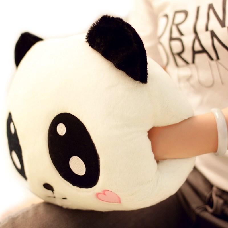 卡通熊猫毛绒暖手宝套暖手袋不充电双插手抱枕手捂女朋友生日礼物