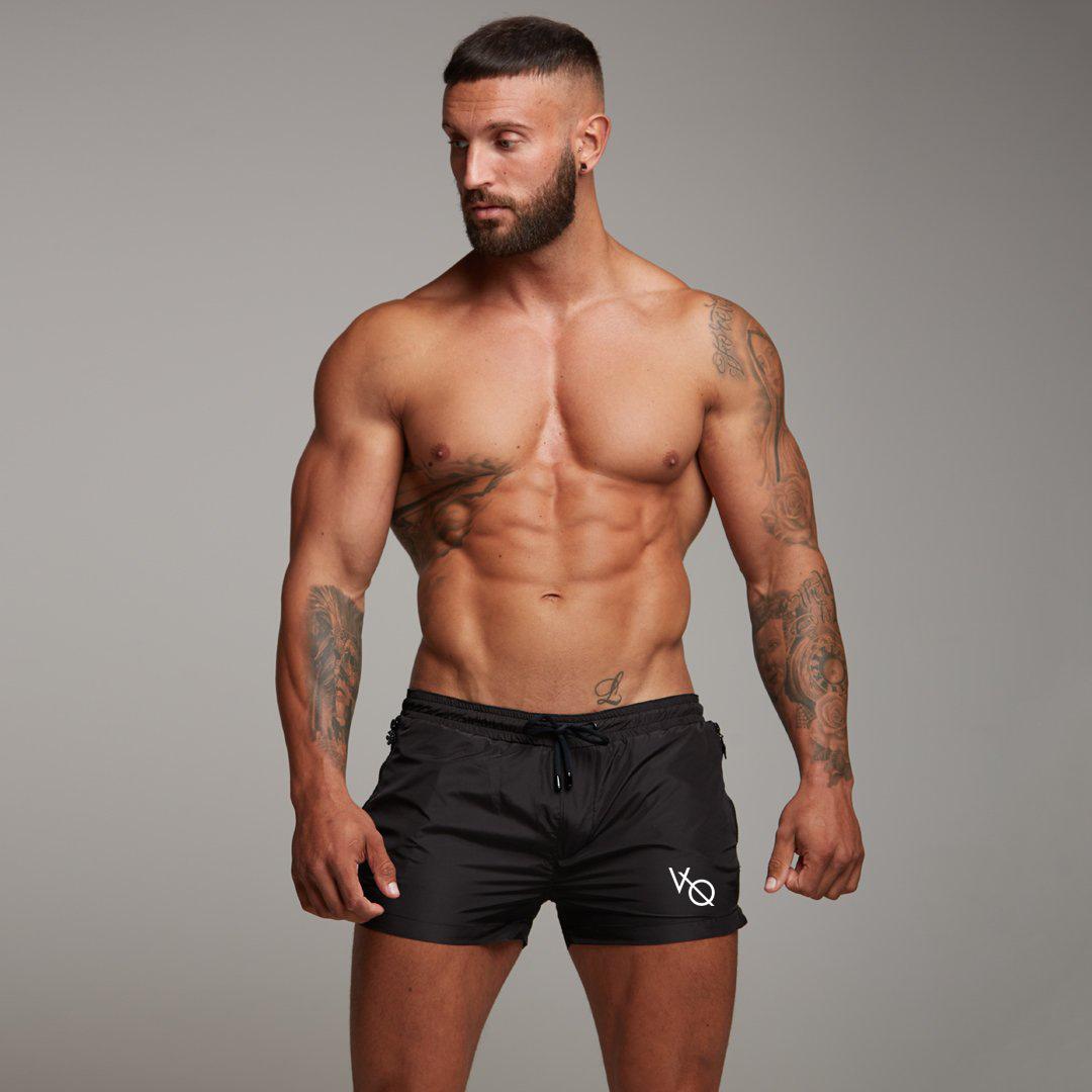 肌肉健身兄弟夏季男士跑步运动深蹲训练速干弹力透气拉链3分短裤
