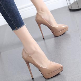 鞋子女2020新款豆沙色百搭女鞋尖头高跟鞋细跟防水台浅口单鞋12CM图片