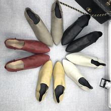 春新款女鞋牛皮尖头深口ar8女单鞋女os里软皮透气休闲鞋平底