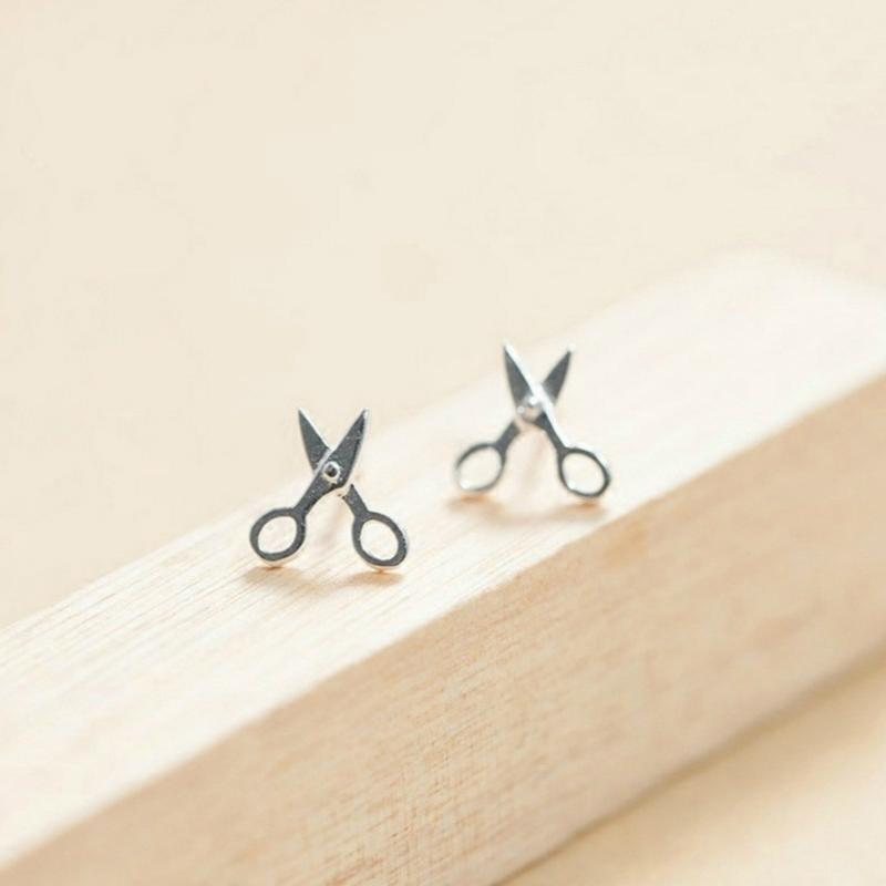 简约百搭S925纯银饰品可爱创意个性小剪刀耳钉女士耳坠耳环耳饰品