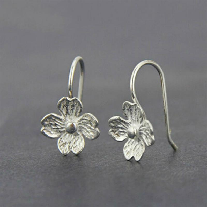 原创设计气质简约S925纯银素银花朵弯钩耳环耳饰品女耳钉耳坠礼物