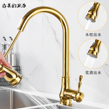全铜金色厨房水龙头ww6拉式洗菜tc热家用伸缩旋转洗碗池龙头