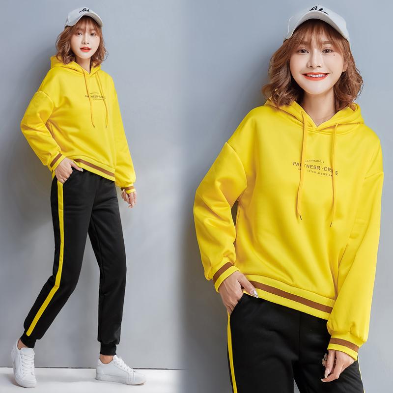 【实拍】运动套装女秋冬新款学生套头连帽卫衣保暖卫裤跑步两件套 -