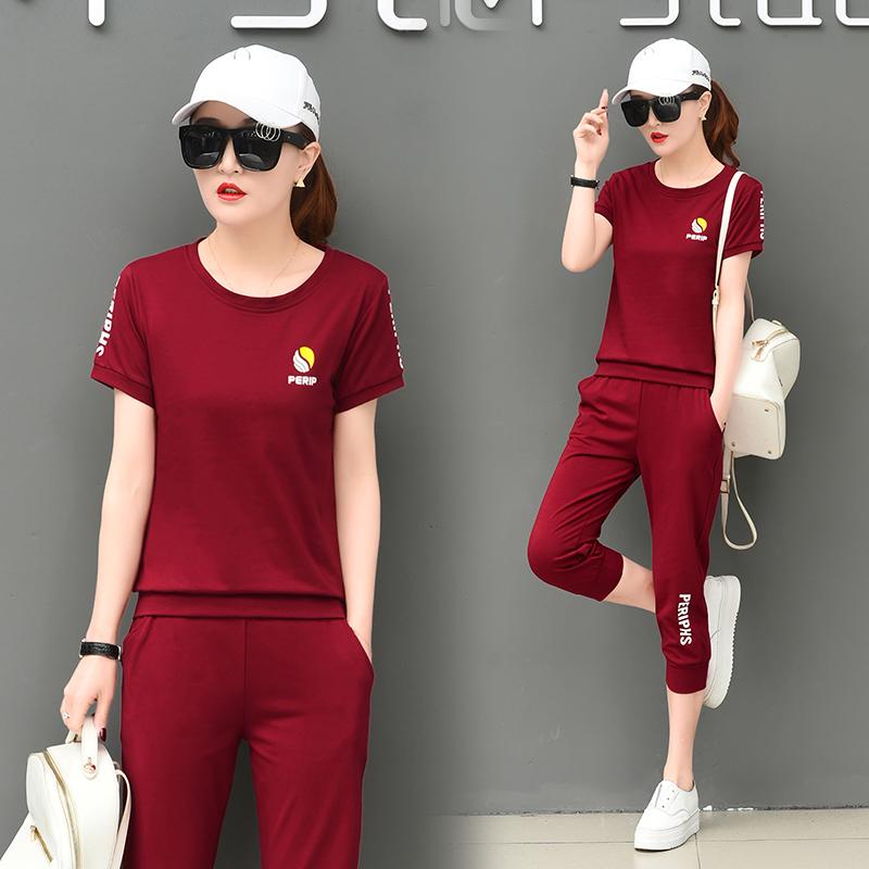 【实拍】休闲运动套装女夏新款修身印花运动服韩版短袖七分两件套 -