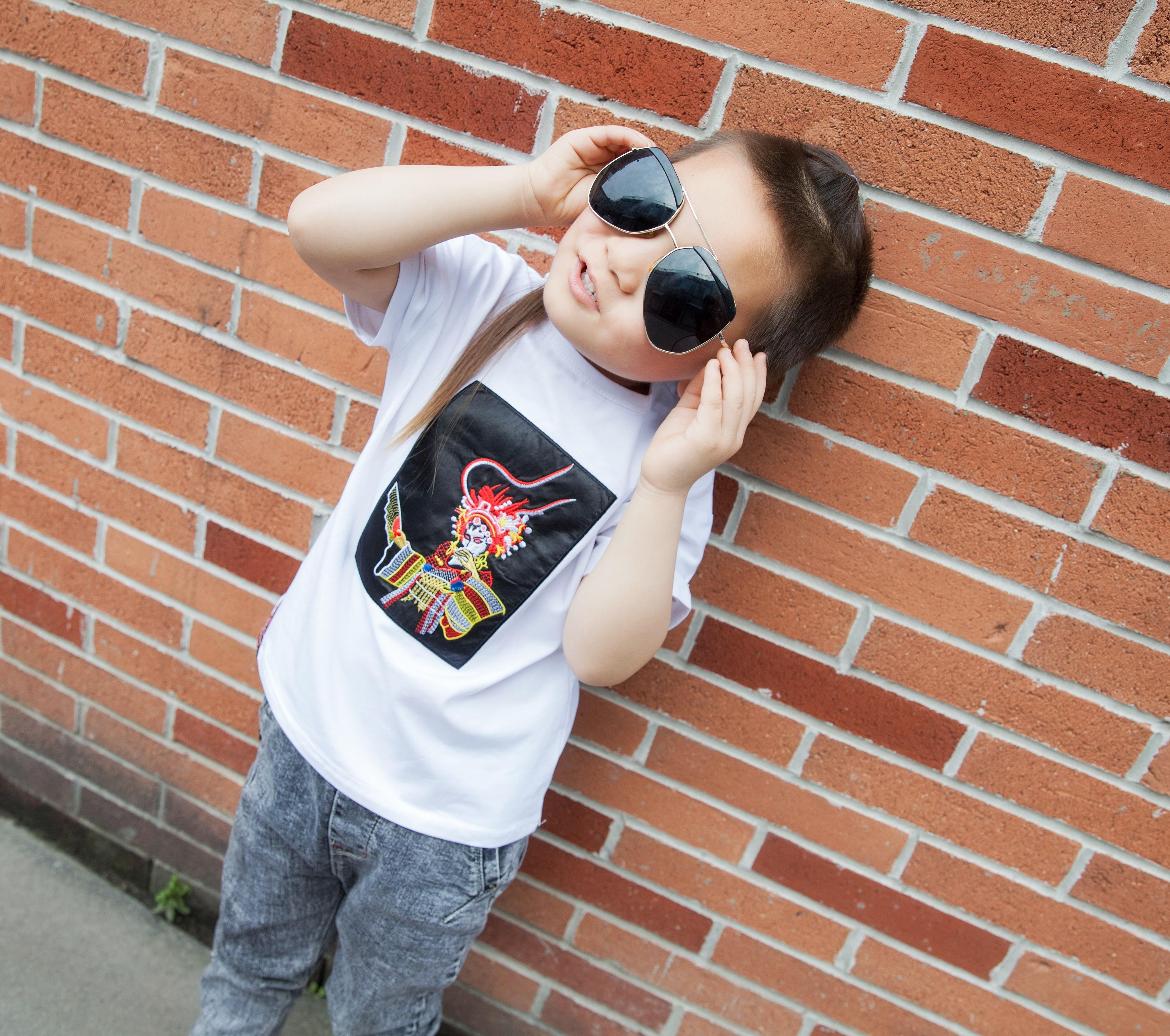 纳米黑科技 韩版个性圆领纯棉男童中国风刺绣贵妃短袖防水防污T恤