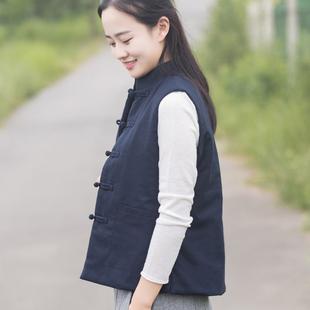 玉想 素心 包邮中式女装唐装上衣民族风棉背心对襟盘扣夹棉马甲图片