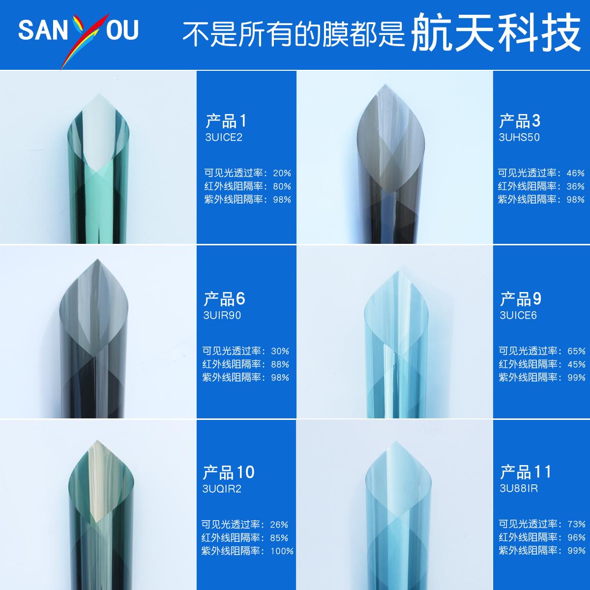 中国航天Sanyou建筑膜阳光房防晒隔热膜节能防爆家用窗户玻璃贴膜